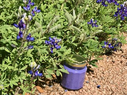Bluebonnet Scented Candle in 6.5oz Jar with Gold Metal Twist Lid placed on the edge of a field of bluebonnets.