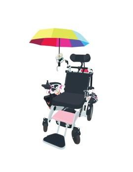 Power wheelchair with rainbow umbrella